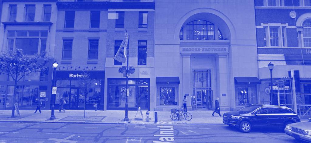 A photo of storefronts on Walnut St. in Center City Philadelphia